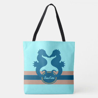 Seahorse Sea Kiss Custom Tote Bag