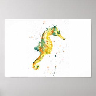 Seahorse, seahorse print, yellow seahorse, bathroo poster