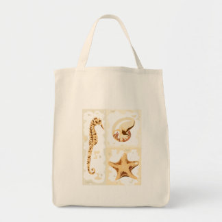 Seahorse Seashells Aquatic Life Canvas Tote Bag