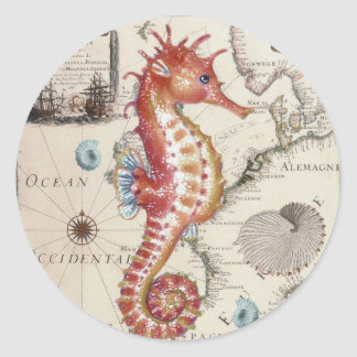Seahorse Shabby Classic Round Sticker