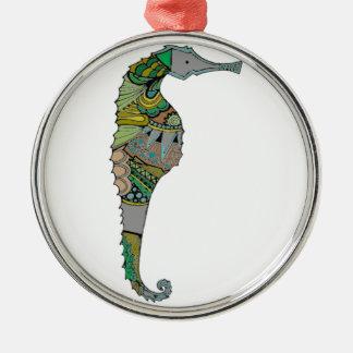 Seahorse Silver-Colored Round Ornament