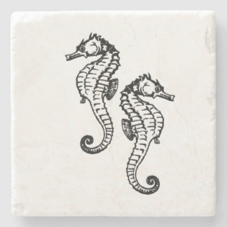 Seahorse Silver Stone Coaster