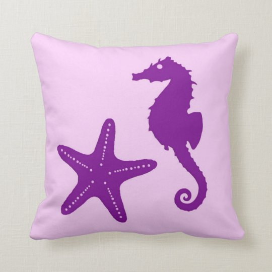 Seahorse & starfish - amethyst and orchid throw pillow
