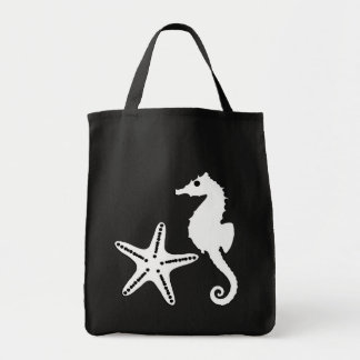 Seahorse & Starfish, black and white Tote Bag