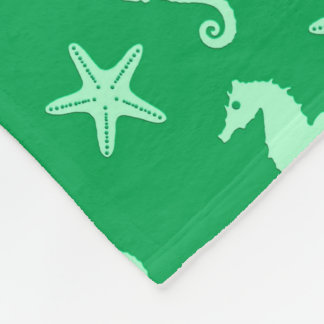 Seahorse & starfish - emerald and mint green fleece blanket