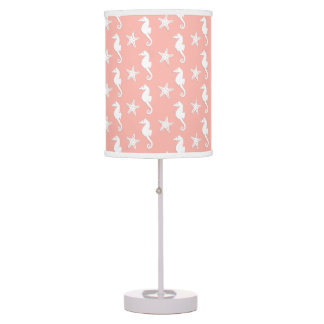 Seahorse & starfish - Light Coral Pink Table Lamp