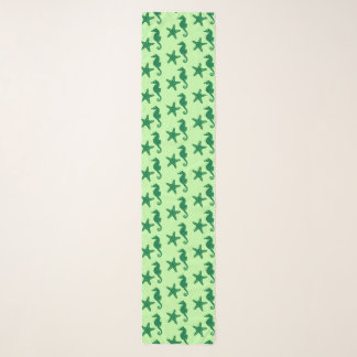 Seahorse & starfish - lime and emerald green scarf
