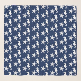 Seahorse & starfish - navy blue and white scarf