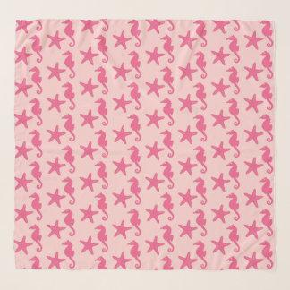 Seahorse & starfish - shades of coral pink scarf