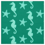 Seahorse & starfish - teal and seafoam green fabric