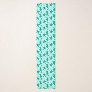Seahorse & starfish - turquoise and aqua scarf