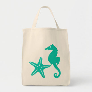 Seahorse & Starfish, turquoise and aqua Tote Bag