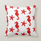 Seahorse & starfish - white and dark coral red throw pillow