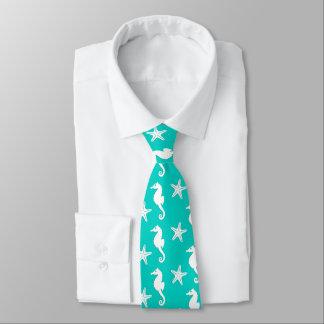 Seahorse & starfish - white on turquoise tie