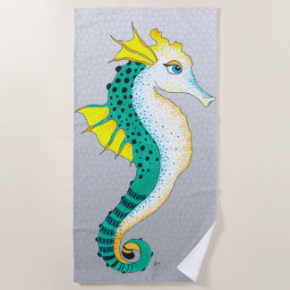 Seahorse Teal Grey Stained Glass Beach Towel