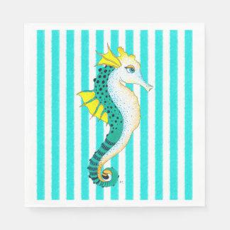 seahorse teal stripes disposable napkin
