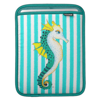 seahorse teal stripes iPad sleeve