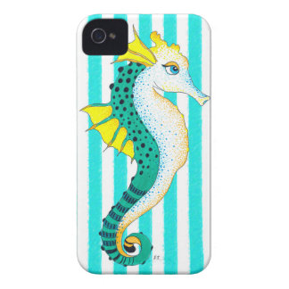 seahorse teal stripes iPhone 4 Case-Mate cases