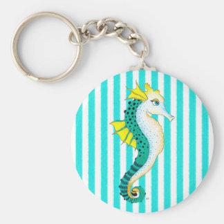 seahorse teal stripes keychain