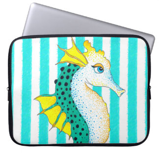 seahorse teal stripes laptop sleeve