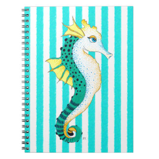 seahorse teal stripes notebooks