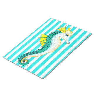 seahorse teal stripes notepad