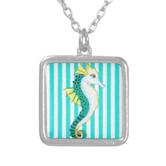 seahorse teal stripes silver plated necklace