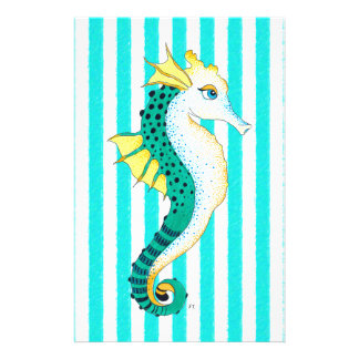 seahorse teal stripes stationery