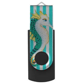 seahorse teal stripes USB flash drive
