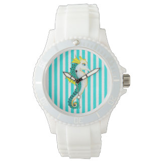 seahorse teal stripes watch