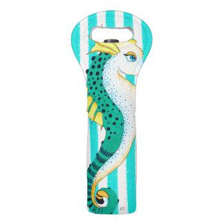 seahorse teal stripes wine bag
