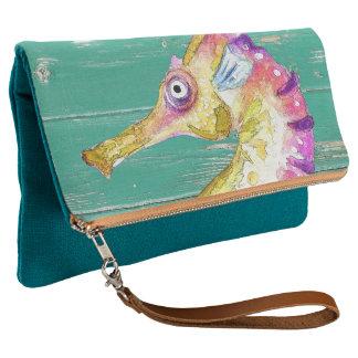 seahorse teal wood clutch