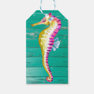 seahorse teal wood gift tags