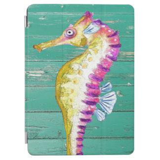 seahorse teal wood iPad air cover