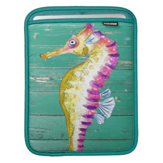 seahorse teal wood iPad sleeve