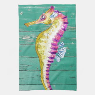 seahorse teal wood kitchen towel