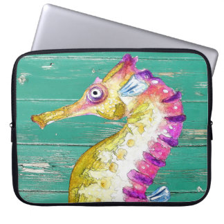 seahorse teal wood laptop sleeve