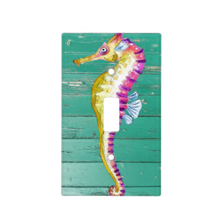 seahorse teal wood light switch cover