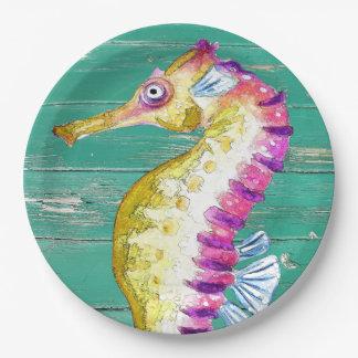 seahorse teal wood paper plate
