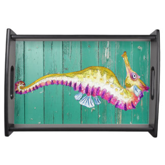 seahorse teal wood serving tray
