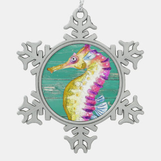 seahorse teal wood snowflake pewter christmas ornament