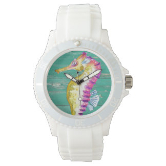 seahorse teal wood watch