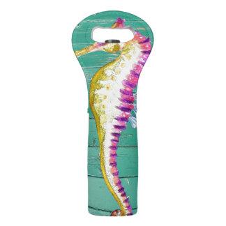 seahorse teal wood wine bag