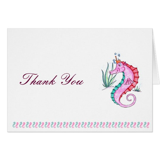 Seahorse Thank You Card in Art Deco Colours