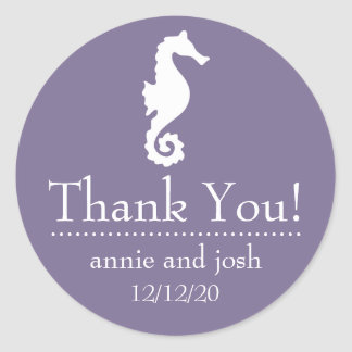 Seahorse Thank You Labels (Eggplant Purple)