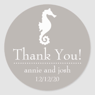 Seahorse Thank You Labels (Sand Taupe Gray)