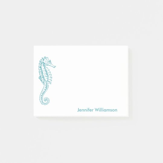 Seahorse Tropical Beach Teal Blue Custom Name Post-it Notes