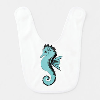 seahorse turquoise bib