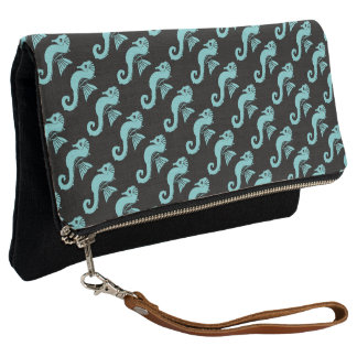 seahorse turquoise clutch
