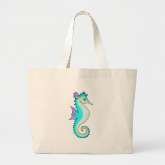 Seahorse Turquoise Large Tote Bag